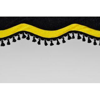 Frontscheibenborde Sonderform Schwarz/Gelb aus Pannesamt