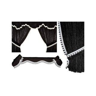 LKW-Gardinen/Vorhang-Set 04 + Frontscheibenborde aus Alcantara-Art